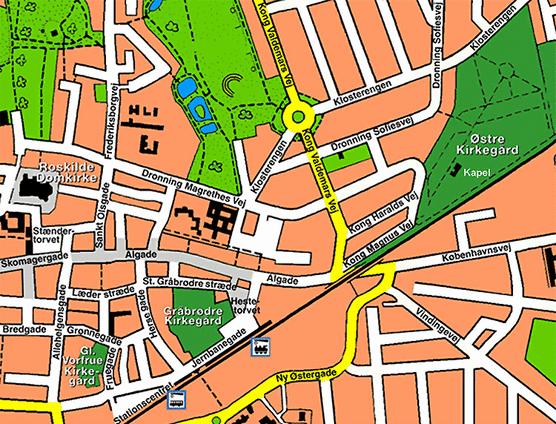roskilde sygehus kort Bykort for Roskilde Kirkegårde. Oversigtskort for Østre Kirkegård